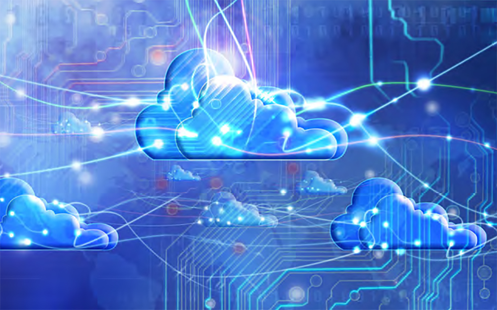 illustration of cloud computing - shows clouds with circuits