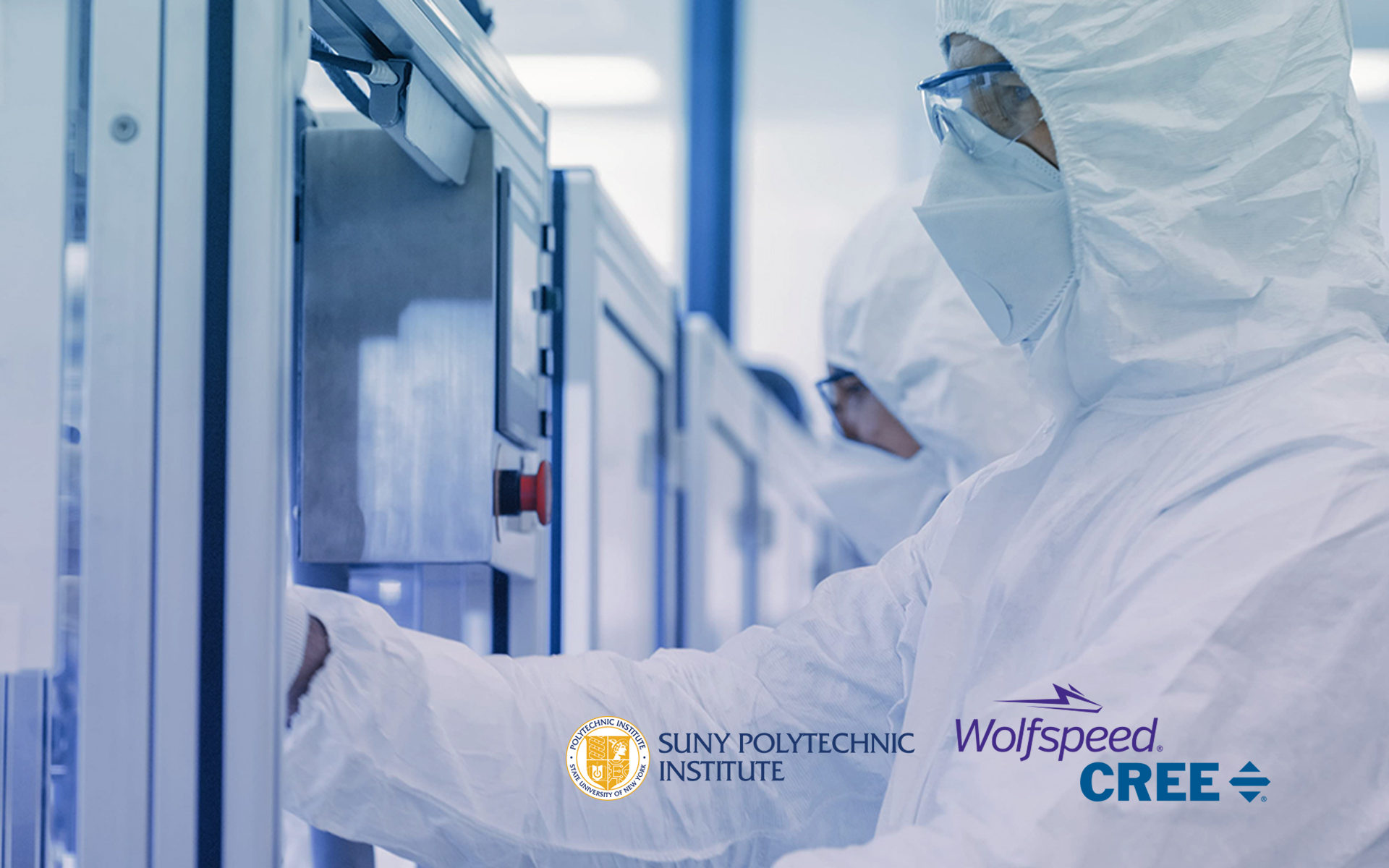 Cleanroom work with Cree Wolfspeed SUNY Poly logo