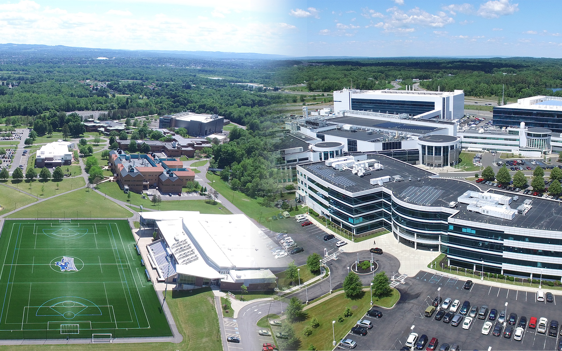 Image of SUNY Poly's Utica campus and Albany campus merged in the middle