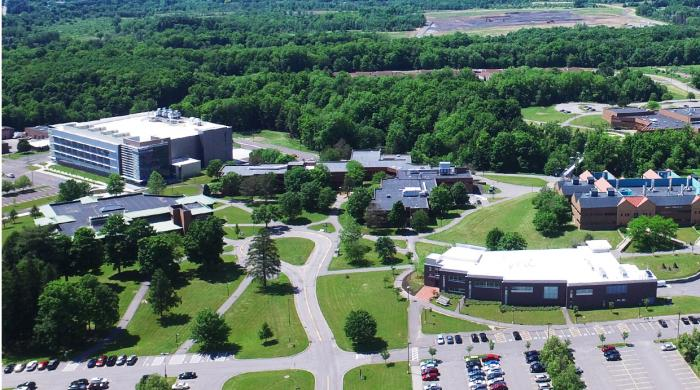 Aerial view of the SUNY Poly Utica Campus. Student Center in foreground